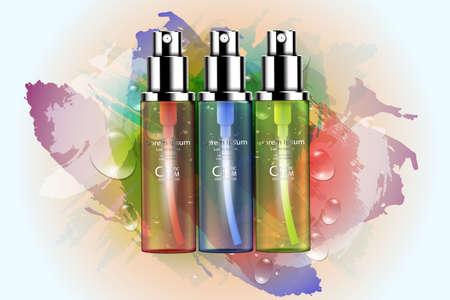 Crema di cura della pelle del pacchetto della bottiglia cosmetica di lusso, manifesto di prodotto cosmetico di bellezza, con acqua dell'acquerello e priorità bassa di goccia dell'acqua
