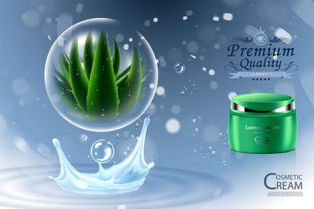 Luxe cosmetische fles pakket huidverzorging crème, Aloë vera moisturizer gezichtsgel, schoonheid cosmetische product poster, met bokeh en waterdruppel achtergrond