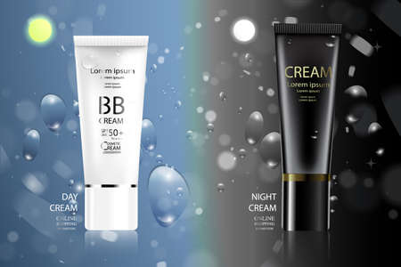 Luxury cosmetic Bottle package skin care cream, Beauty cosmetic product poster,day cream and night cream with Bokeh background.