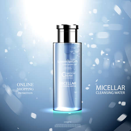 Luxury cosmetic Bottle package skin care cream, Beauty cosmetic product poster, with Bokeh background 向量圖像