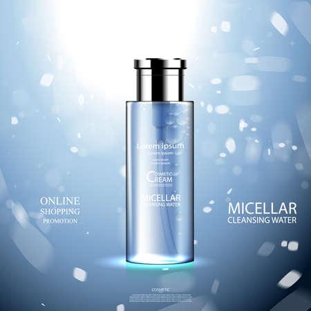 Pacote de garrafa cosmética de luxo creme de cuidados com a pele, cartaz de produtos cosméticos de beleza, com fundo de Bokeh Foto de archivo - 82179559