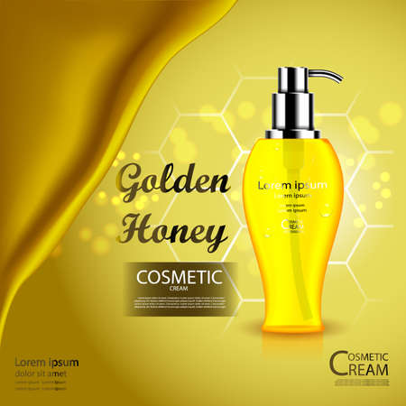 Luxury cosmetic Bottle package skin care cream, Beauty cosmetic product poster, with honey and bokeh background. Illustration
