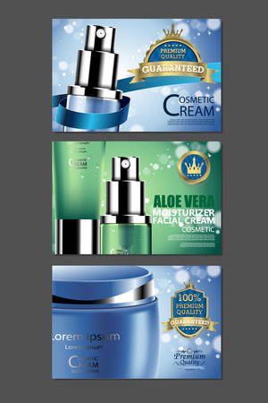 face off: Luxury cosmetic Bottle package skin care cream, Beauty cosmetic product poster, with Bokeh background Illustration