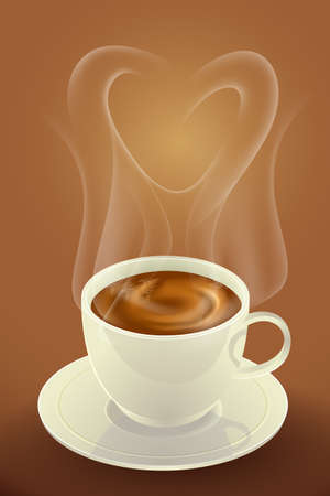 Coffee and white cup of coffee with smoke heart shape, morning coffee day start