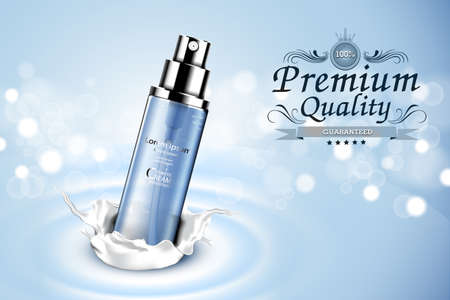 water splash isolated on white background: Luxury cosmetic Bottle package skin care cream, Beauty cosmetic product poster, with Bokeh and Water background