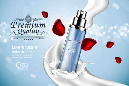 treatment plant: Luxury cosmetic Bottle package skin care cream, Beauty cosmetic product poster, with Bokeh and Water background