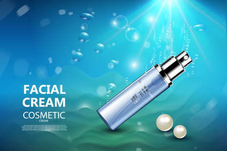 treatment plant: Luxury cosmetic Bottle package ad template