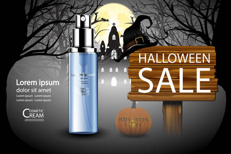 treatment plant: Luxury cosmetic Bottle package skin care cream, Beauty cosmetic product poster, with halloween background