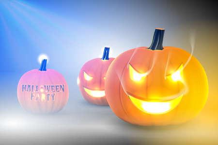 Pumpkin glowing in darkness, Halloween template design.