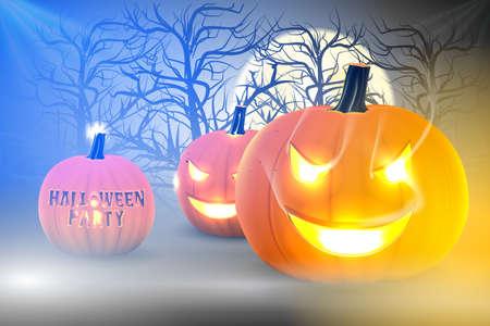 ghost house: Pumpkin glowing in darkness, Halloween template design.