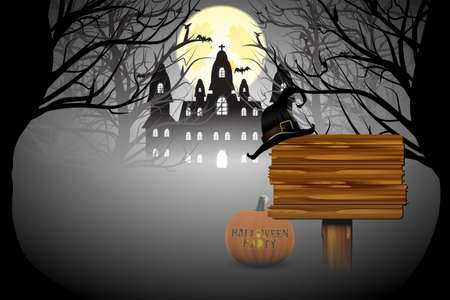 ghost house: Halloween party banner with pumpkin. Illustration