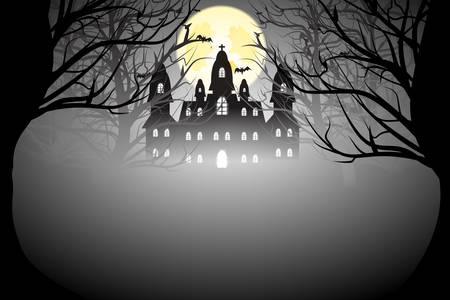ghost house: Dark forest icon for Halloween.