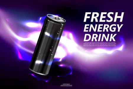 Boisson énergisante fraîche en boîte avec fond violet, affiche de produit de boisson paquet et énergie