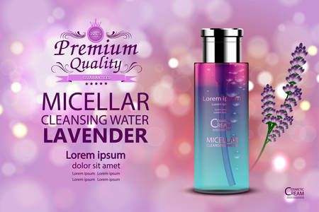 Luxury cosmetic Bottle package skin care cream,Lavender Lotion and gel, Beauty cosmetic product poster, with Bokeh background Vectores