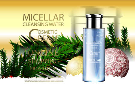 Beauty product bottle package ads promotion template with Christmas theme illustration.