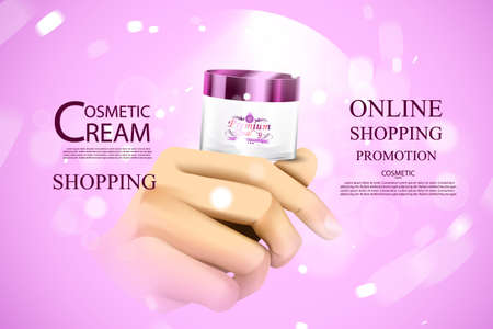 Luxury cosmetic bottle package skin care cream, beauty cosmetic product poster with bokeh and water background.