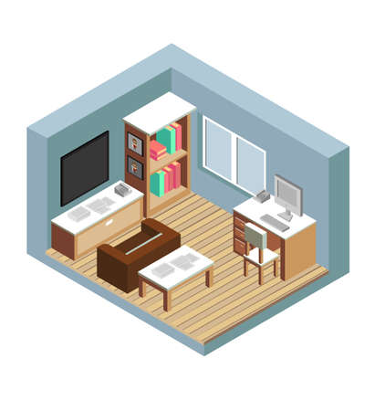 Isometric style home indoor interior exterior open transparent ceiling, Creative architecture info graphic