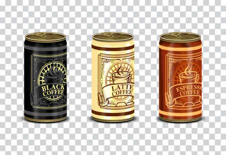 Blechdose und Etikett von Kaffeebohnen mit isoliertem Hintergrund
