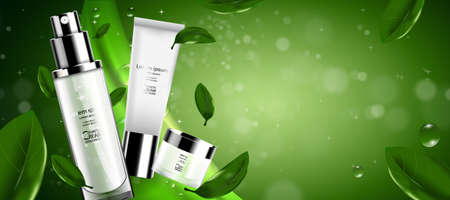 Luxury cosmetic Bottle package skin care cream, Green tea serum set, Beauty cosmetic product poster, with Bokeh and Water background