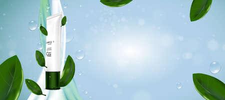 Paquete de botella cosmética de lujo crema para el cuidado de la piel, juego de suero de té verde, póster de producto cosmético de belleza, con fondo bokeh y agua Ilustración de vector