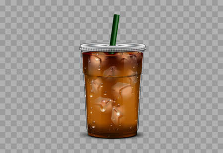 Iced coffee takeaway cup with isolated background Illustration