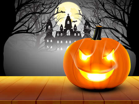 Pumpkin and smoke with castle background ,Concept halloween, trick or treat Ilustração