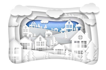 Merry Christmas and Happy New Year, Paper art design, Advertising with winter composition in paper cut style, Vector illustration