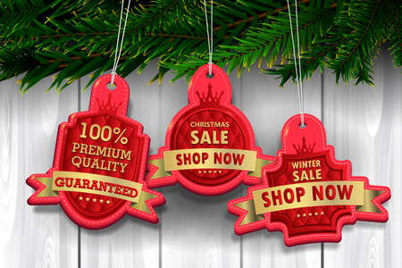 Red and gold luxury label on wooden background, Christmas concept Ilustrace
