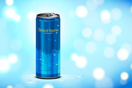 Beverage in can with blue background, Package and drink product poster 向量圖像