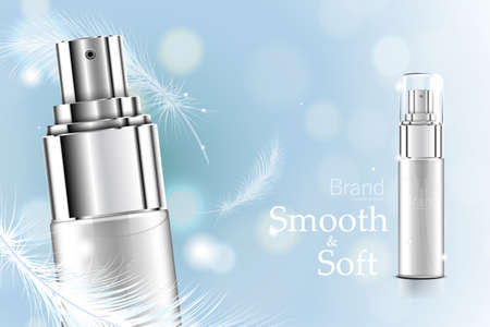 Luxury cosmetic Bottle package skin care cream, Beauty cosmetic product poster, with Bokeh and Feather background 向量圖像