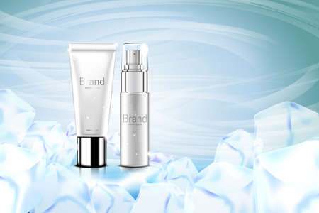 Luxury cosmetic Bottle package skin care cream, Beauty cosmetic product poster, with Bokeh and ice background 向量圖像
