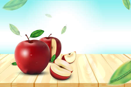 Red Apple, Apple Slice and Green Leaves with Wooden and beach background, Vector Illustration Ilustração