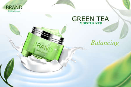 Luxury cosmetic Bottle package skin care cream, Beauty cosmetic product poster, with Green tea and water on blue background Çizim