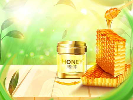 Honeycomb and Bottle honey on wooden floor with leaves and forest background