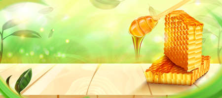 Honeycomb and honey on wooden floor with leaves and forest background