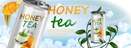 Honey and Tea in tin can on tea leaves in ice cubes background Stock Illustratie