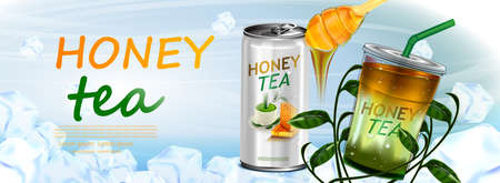 Honey and Tea in tin can and cup on tea leaves in ice cubes background