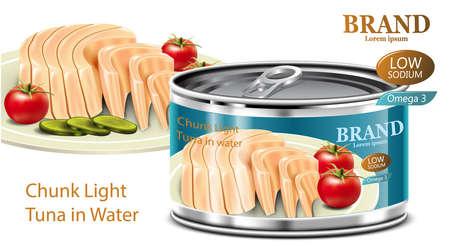 Thunfisch in Dosen mit niedrigem Natrium- und hohem Omega-3-Gehalt mit isoliertem weißem Hintergrund