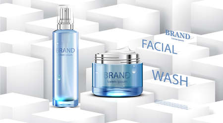 Luxury cosmetic Bottle package skin care cream, Beauty cosmetic product poster, with cube and white background