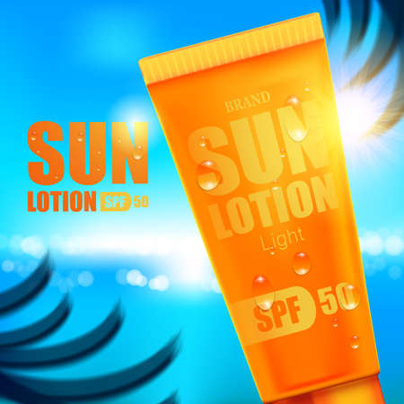 Luxury cosmetic Bottle package skin care cream, Sun screen bottle UV block, Beauty cosmetic product poster, with bokeh beach background 向量圖像