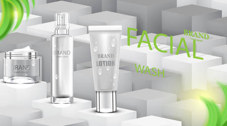 Luxury cosmetic Bottle package skin care cream, Beauty cosmetic product poster, with cube background