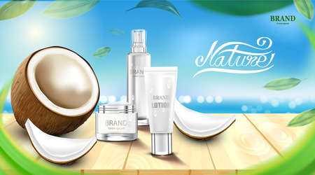 Luxury cosmetic Bottle package skin care cream, Beauty cosmetic product poster, with Coconuts and beach background Ilustrace