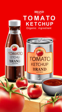 Tomato ketchup with fresh fruit and red background
