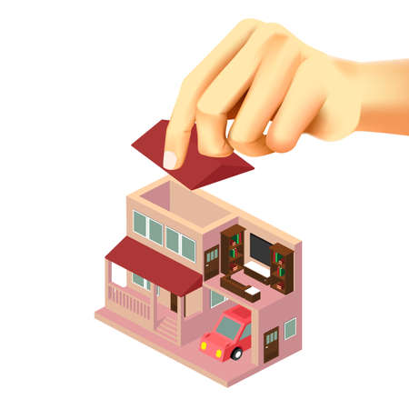 Home design with hand and furniture, isometric interior