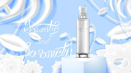 Luxury cosmetic Bottle package skin care cream, Beauty cosmetic product poster, with white paper craft background
