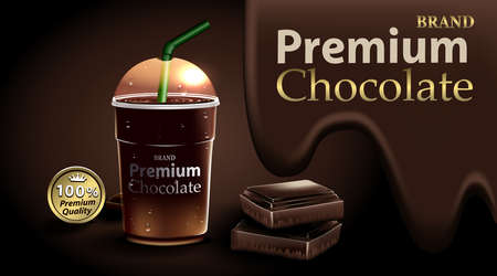 Chocolate in a clear plastic cup and green straw with chocolate and  dark brown color Ilustrace
