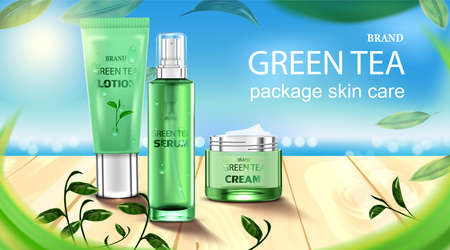 Luxury cosmetic Bottle package skin care cream, Beauty cosmetic product poster, with Green tea and wooden floor on beach background