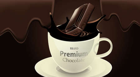 Delicious dark chocolate drink in a cup and splash chocolate on brown color background, luxury Dessert