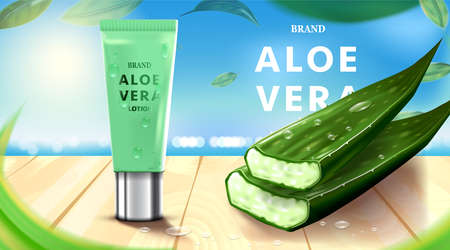 Luxury cosmetic Bottle package skin care cream, Beauty cosmetic product poster, with Aloe vera and wooden floor on beach background