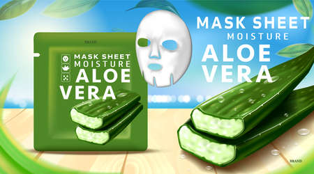Luxury cosmetic package, collagen Mask sheet for skin, Beauty cosmetic product poster, with Aloe vera and wooden floor on beach background